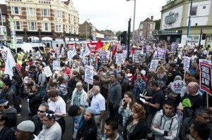 The We Are Waltham Forest protesters occupying the junction of Hoe Street and Forest Road during the anti EDI demonstration in September 2014. (Pic: Guy Smallman)